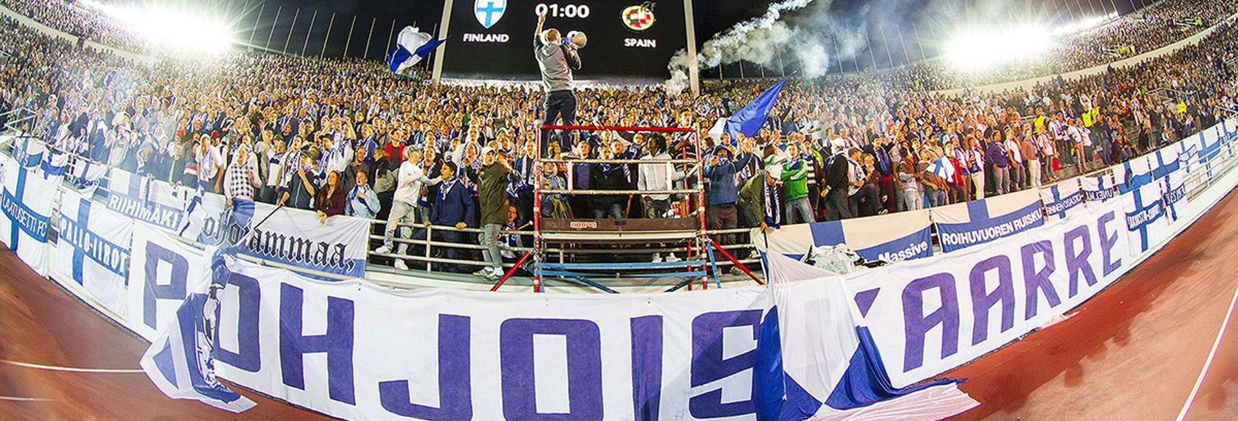 6.9.2013 Suomi - Espanja MM-karsintaottelusta Suomen Olympiastadionilta Helsingistä. Espanja voitti ottelun maalein 0-2.